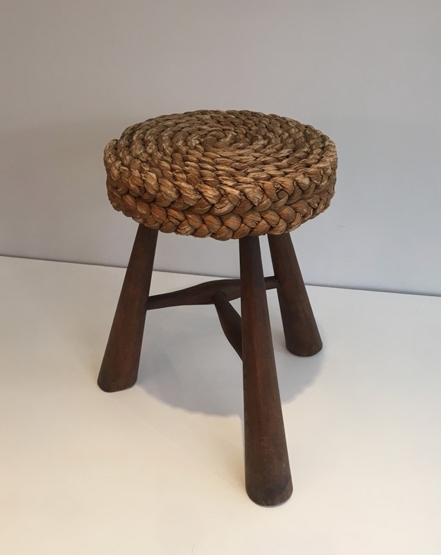 Audoux Minet. Wood and Rope Stool. French. 1950's-barrois-antiques-50s-39219-main-637387149076347091.jpg