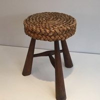 Audoux Minet. Wood and Rope Stool. French. 1950's