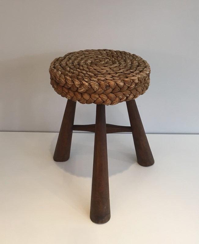 Audoux Minet. Wood and Rope Stool. French. 1950's-barrois-antiques-50s-39220-main-637387150273061585.jpg
