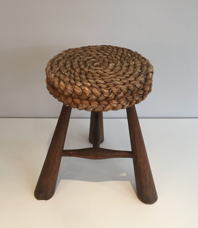 Audoux Minet. Wood and Rope Stool. French. 1950's-barrois-antiques-50s-39221-main-637387150291342751.jpg