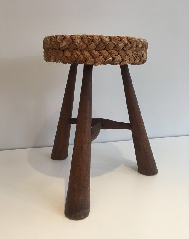 Audoux Minet. Wood and Rope Stool. French. 1950's-barrois-antiques-50s-39222-main-637387150310561448.jpg