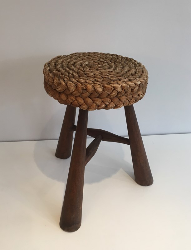 Audoux Minet. Wood and Rope Stool. French. 1950's-barrois-antiques-50s-39227-main-637387150418842590.jpg