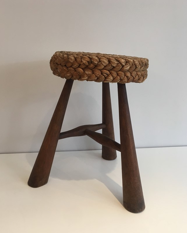 Audoux Minet. Wood and Rope Stool. French. 1950's-barrois-antiques-50s-39228-main-637387150441341953.jpg