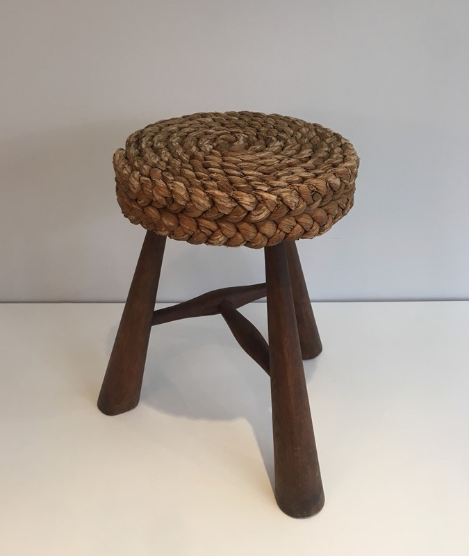 Audoux Minet. Wood and Rope Stool. French. 1950's-barrois-antiques-50s-39230-main-637387150974464510.jpg