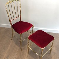 Chiavari Brass chair with its stool