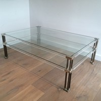 Large Modernist Chrome and Lucite coffee Table
