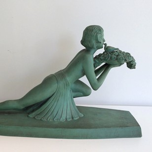 Art Deco terracotta woman with a bird
