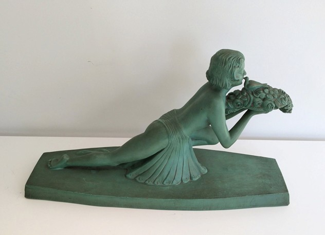 Art Deco terracotta woman with a bird. Marked-barrois-antiques-AD-571_main_636299177638373978.jpg