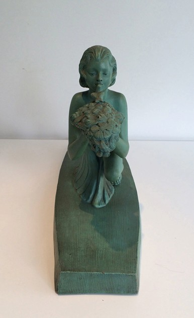 Art Deco terracotta woman with a bird. Marked-barrois-antiques-AD-575_main_636299178738854410.jpg