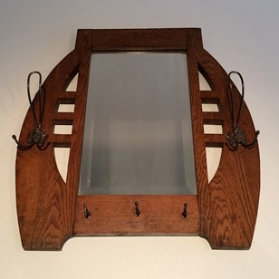 Interesting Arts & Crafts Oak and Brass Mirror