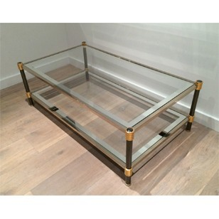 Gun Metal and Gild Metal Coffee Table. Circa 1970