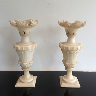 Pair of Alabaster Decorative Elements. Circa 1900