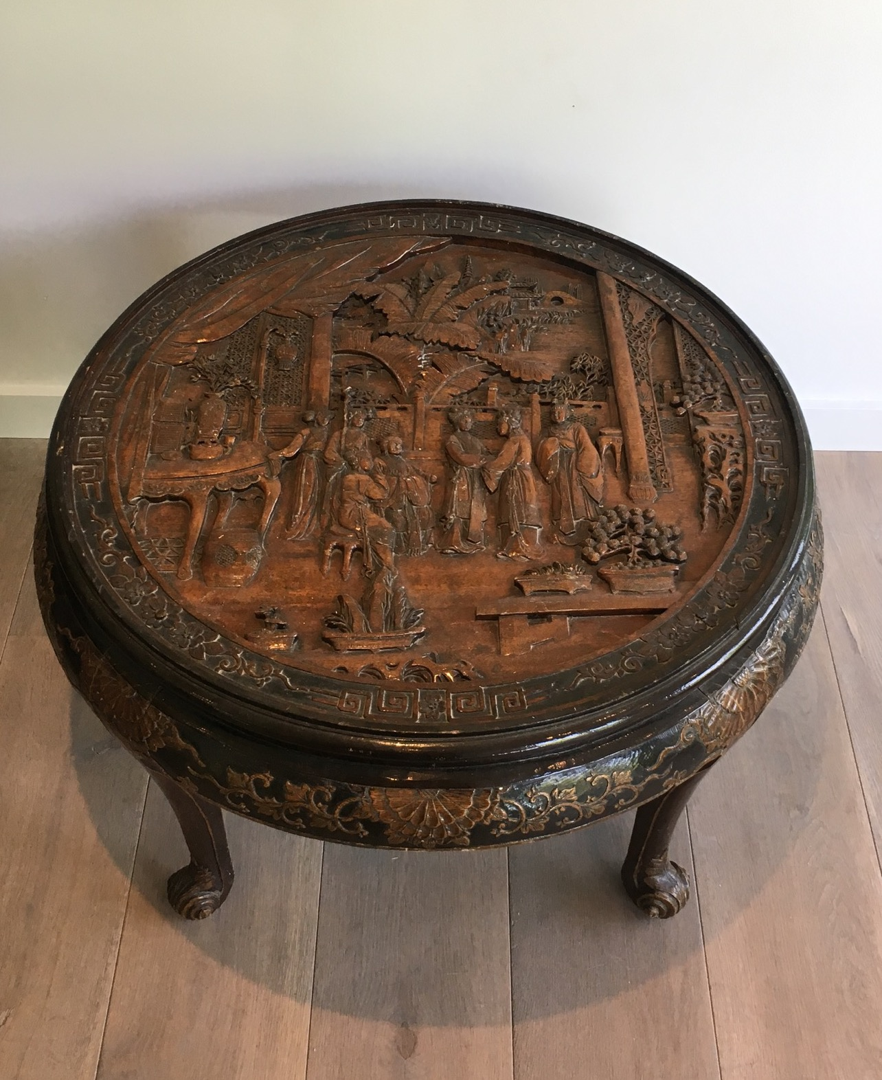Chinese Carved Wood Coffee Table Decorative Collective