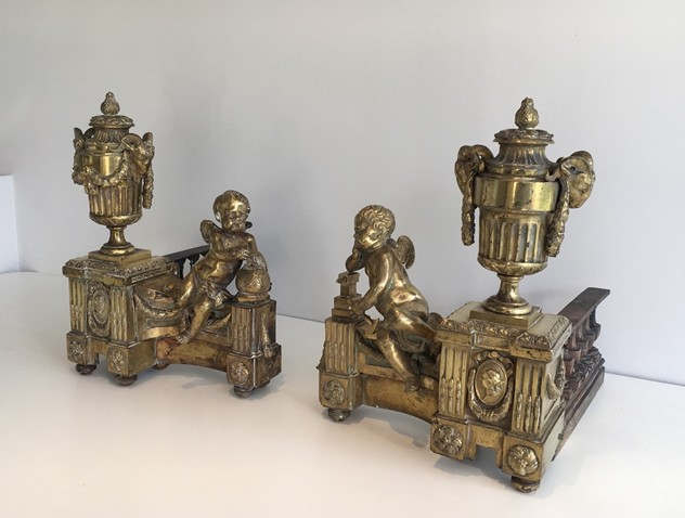 Beautiful chiseled bronze andirons with cherubs. -barrois-antiques-FP-450_main_636323308784886874.jpg