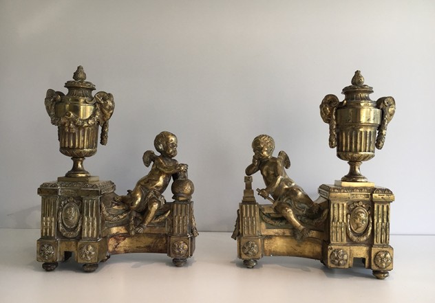 Beautiful chiseled bronze andirons with cherubs. -barrois-antiques-FP-452_main_636323308944794987.jpg