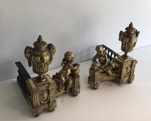 Beautiful chiseled bronze andirons with cherubs. -barrois-antiques-FP-462_main_636323310717824968.jpg