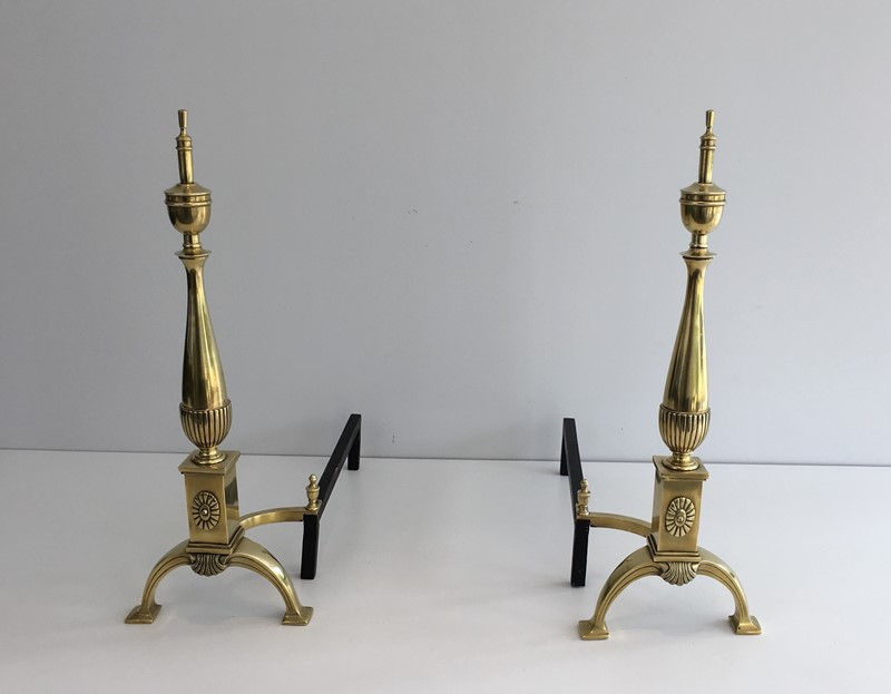 Pair of neoclassical Bronze Andirons. French-barrois-antiques-FP-851-main-636779559912383737.JPG