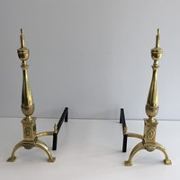 Pair of neoclassical  Style lBronze Andirons