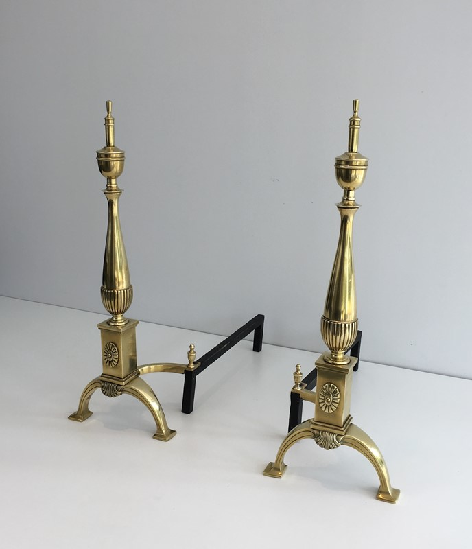 Pair of neoclassical Bronze Andirons. French-barrois-antiques-FP-855-main-636779560290532894.JPG