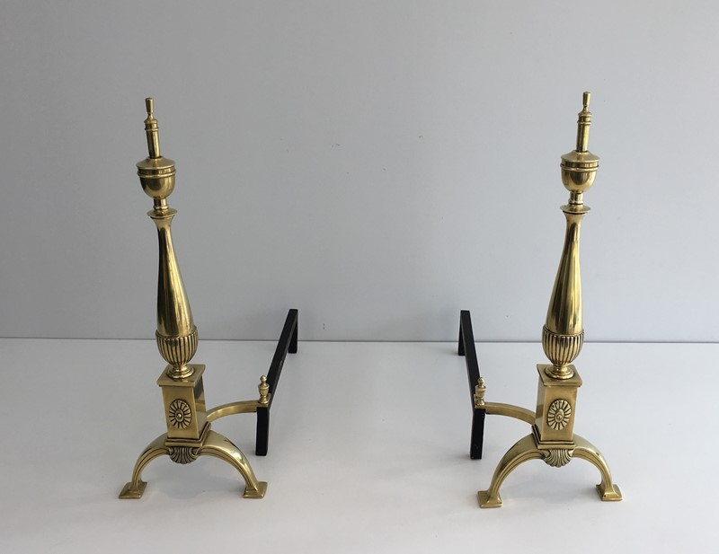 Pair of neoclassical Bronze Andirons. French-barrois-antiques-FP-863-main-636779560688534849.JPG