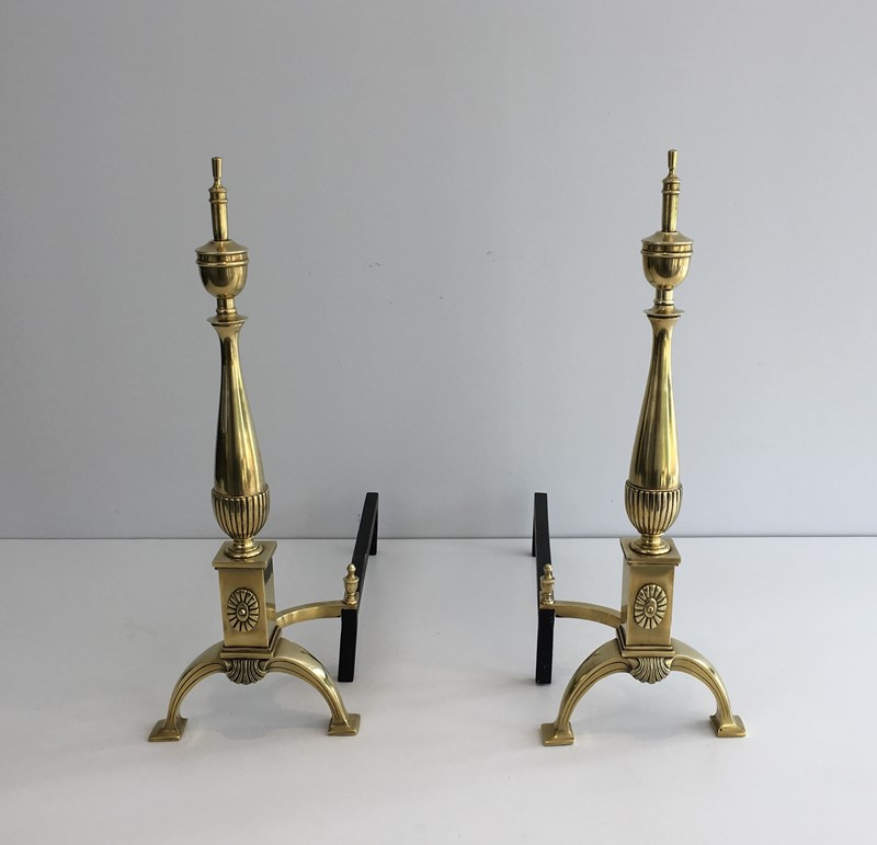 Pair of neoclassical Bronze Andirons. French-barrois-antiques-FP-864-main-636779560705564188.JPG