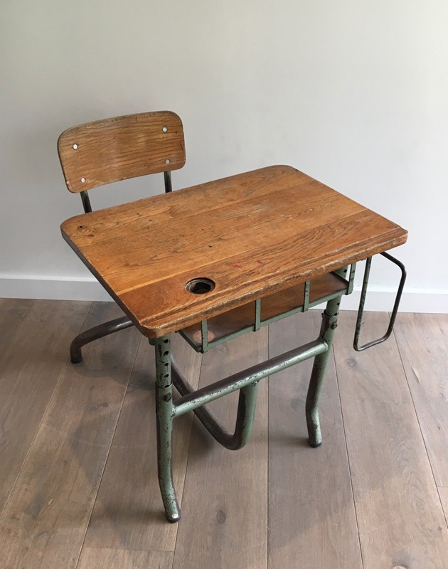 Industrial Steel and Wood Children Desk. 1900's-barrois-antiques-I-611-main-636619002535340765.jpg