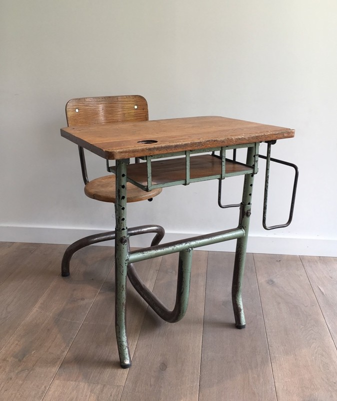 Industrial Steel and Wood Children Desk. 1900's-barrois-antiques-I-612-main-636619002538928949.jpg