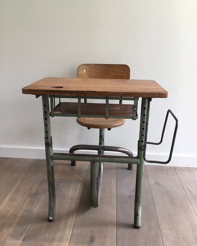 Industrial Steel and Wood Children Desk. 1900's-barrois-antiques-I-613-main-636619002626137421.jpg