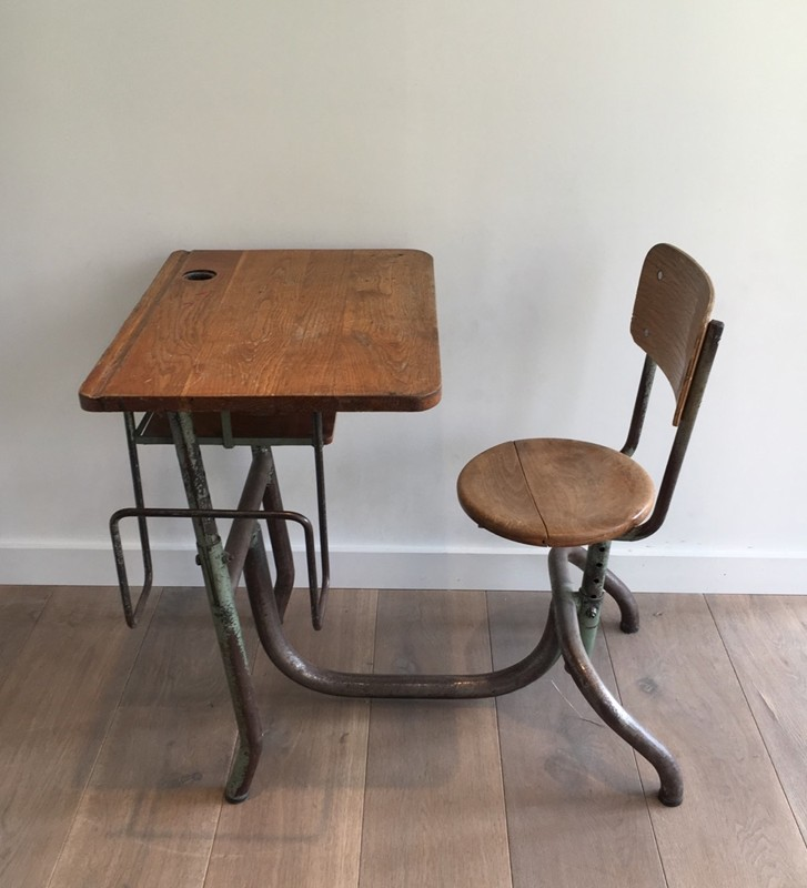 Industrial Steel and Wood Children Desk. 1900's-barrois-antiques-I-615-main-636619002758744221.jpg