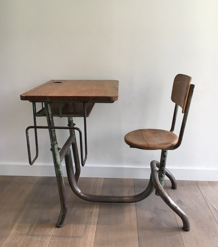 Industrial Steel and Wood Children Desk. 1900's-barrois-antiques-I-616-main-636619002874970181.jpg