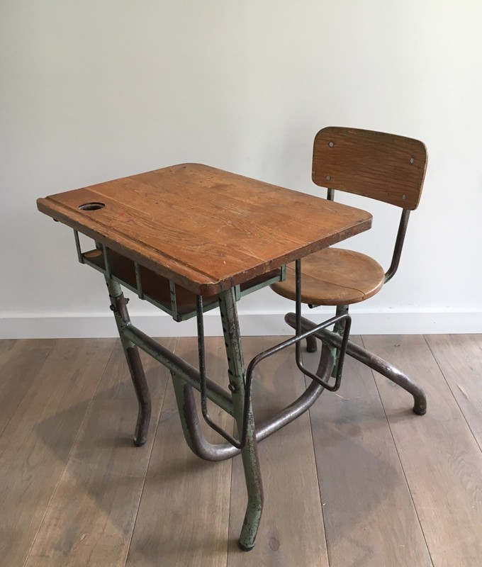 Industrial Steel and Wood Children Desk. 1900's-barrois-antiques-I-618-main-636619003017873509.jpg