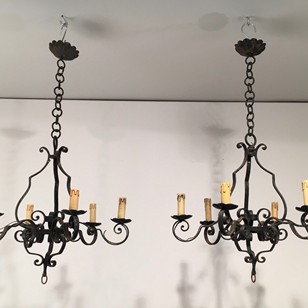 Pair of wrought iron chandelier. French. 1950's