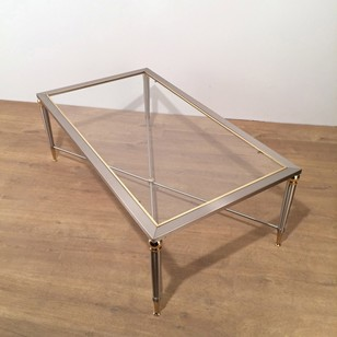 Large Brushed Steel and Brass Coffee Table