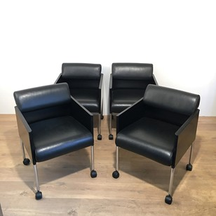 Set of 4 black leather armchairs signed Rosenthal