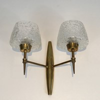 Pair Bronze Sconces with Worked Glass