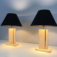 Pair of Travertine and Brass Table Lamps. 1970's