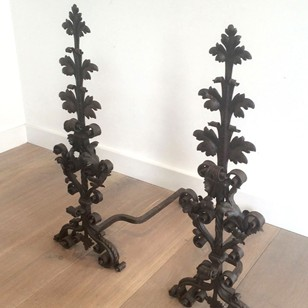 Pair of 19c wrought iron andirons
