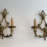 Pair of Large Louis the 15th style 3 Lights Bronze