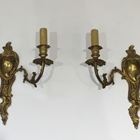 Pair of Louis the 15th Style Bronze Wall Sconces