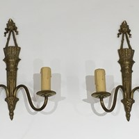 Pair Of Louis The 16th Style Bronze Wall Sconces