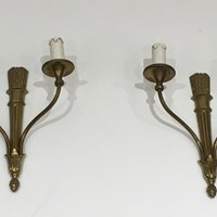 Louis The 16th Style Pair Of Bronze Wall Sconces