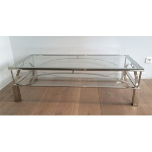 Unusual large chrome coffee table. Circa 1960