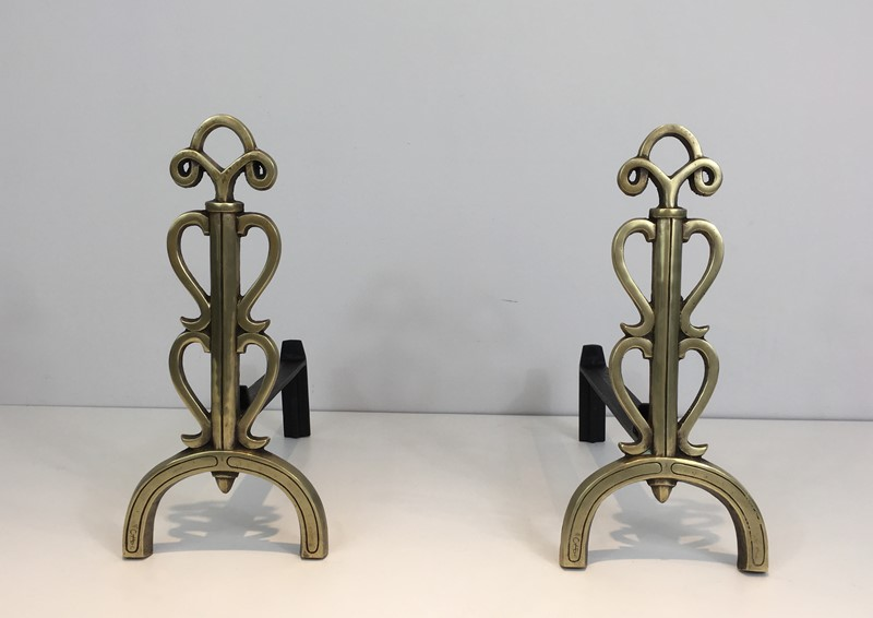 Bronze and Iron Andirons. Signed. French. -barrois-antiques-fp-1082-main-636842832723353220.JPG
