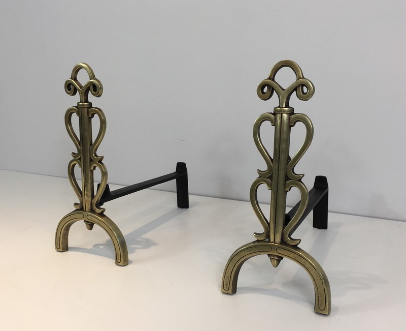 Bronze and Iron Andirons. Signed. French. -barrois-antiques-fp-1083-main-636842832922153578.JPG