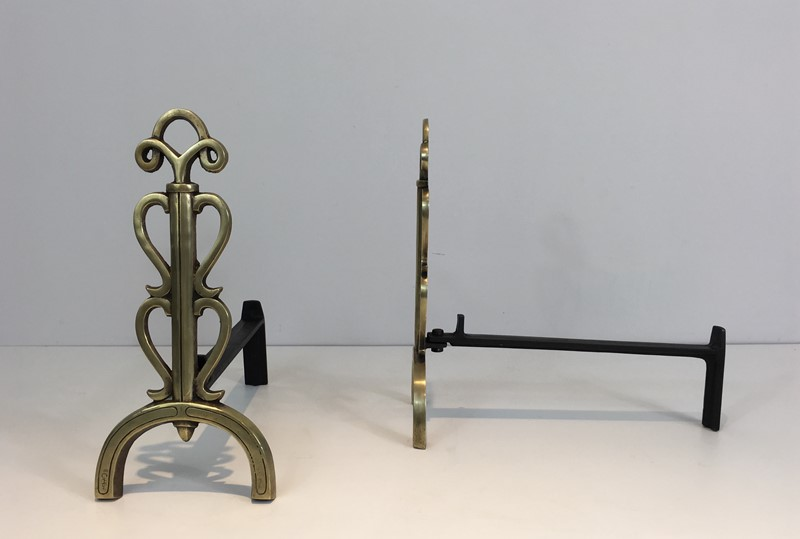 Bronze and Iron Andirons. Signed. French. -barrois-antiques-fp-1084-main-636842832942621797.JPG