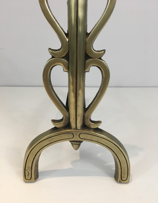 Bronze and Iron Andirons. Signed. French. -barrois-antiques-fp-1088-main-636842833330184685.JPG