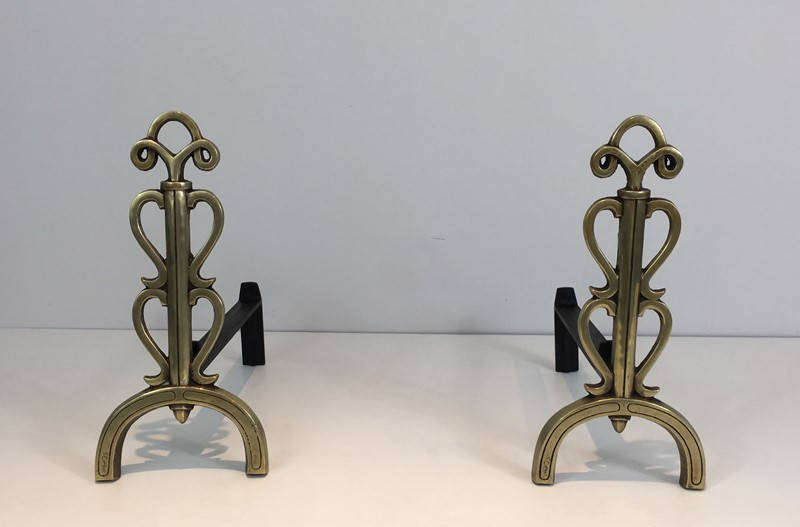 Bronze and Iron Andirons. Signed. French. -barrois-antiques-fp-1092-main-636842833415184508.JPG