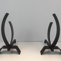 Pair of Modernist Steel and Iron Andirons