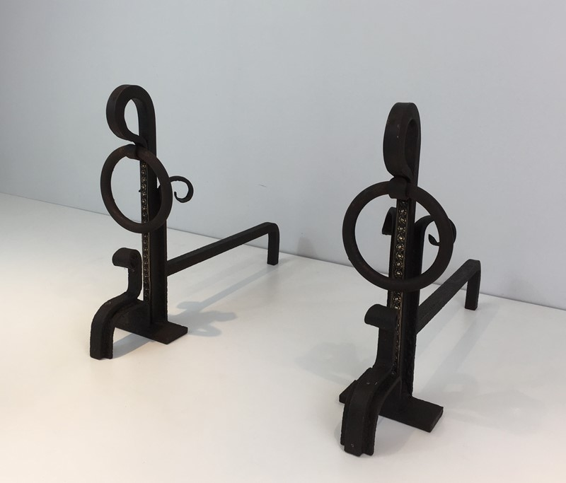 Pair of Arts & Crafts Iron & Brass Andirons-barrois-antiques-fp-1420-main-636842816752332260.JPG