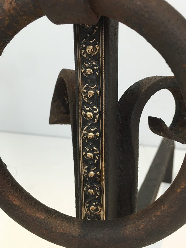 Pair of Arts & Crafts Iron & Brass Andirons-barrois-antiques-fp-1438-main-636842817399048627.JPG